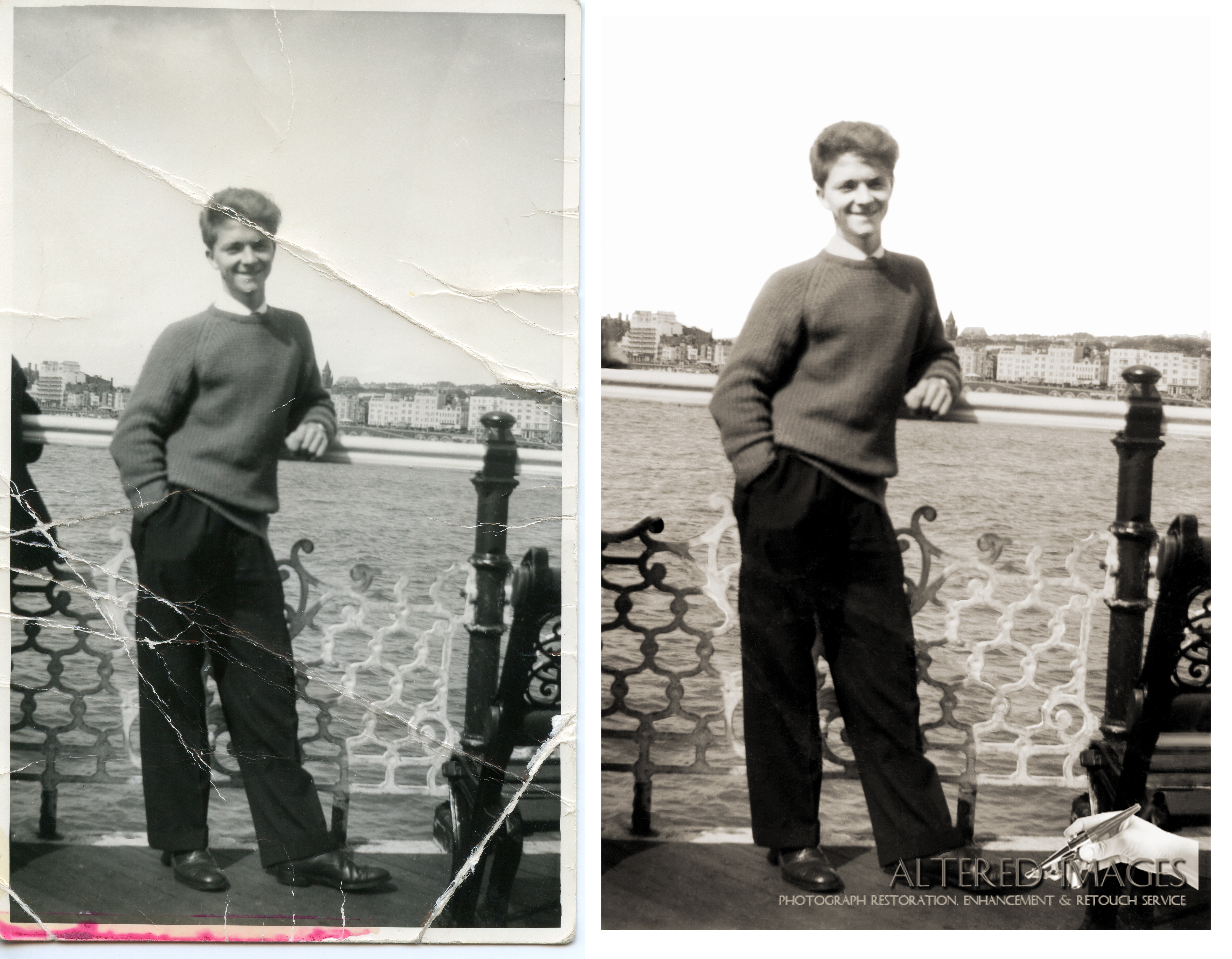 Photo Restoration of young man stood on the pier at Blackpool